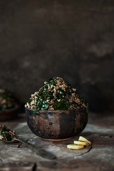 quinoa with spinach, lemon and ginger.