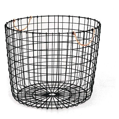 Threshold™ Wire Log Basket with Copper Handle - Matte Black
