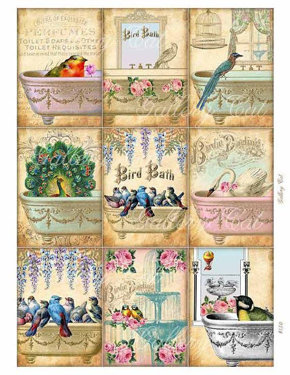 PÁJARO baño Collage Digital hoja descarga por GalleryCat en Etsy