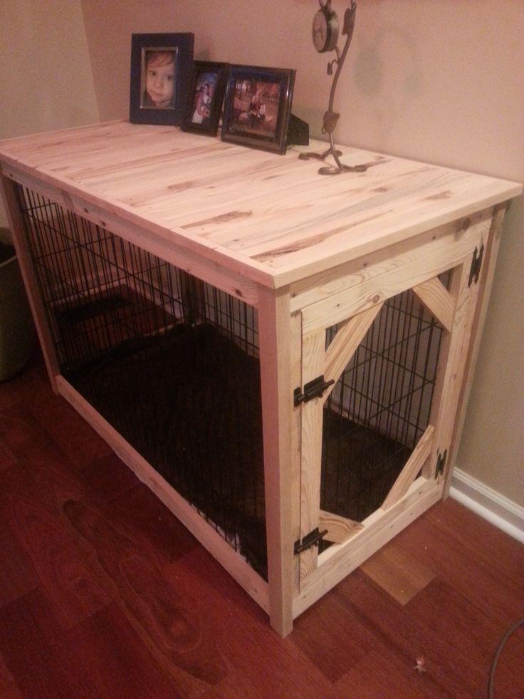 dog kennel table golden retrievers pinterest barri re barriere bois et bois. Black Bedroom Furniture Sets. Home Design Ideas
