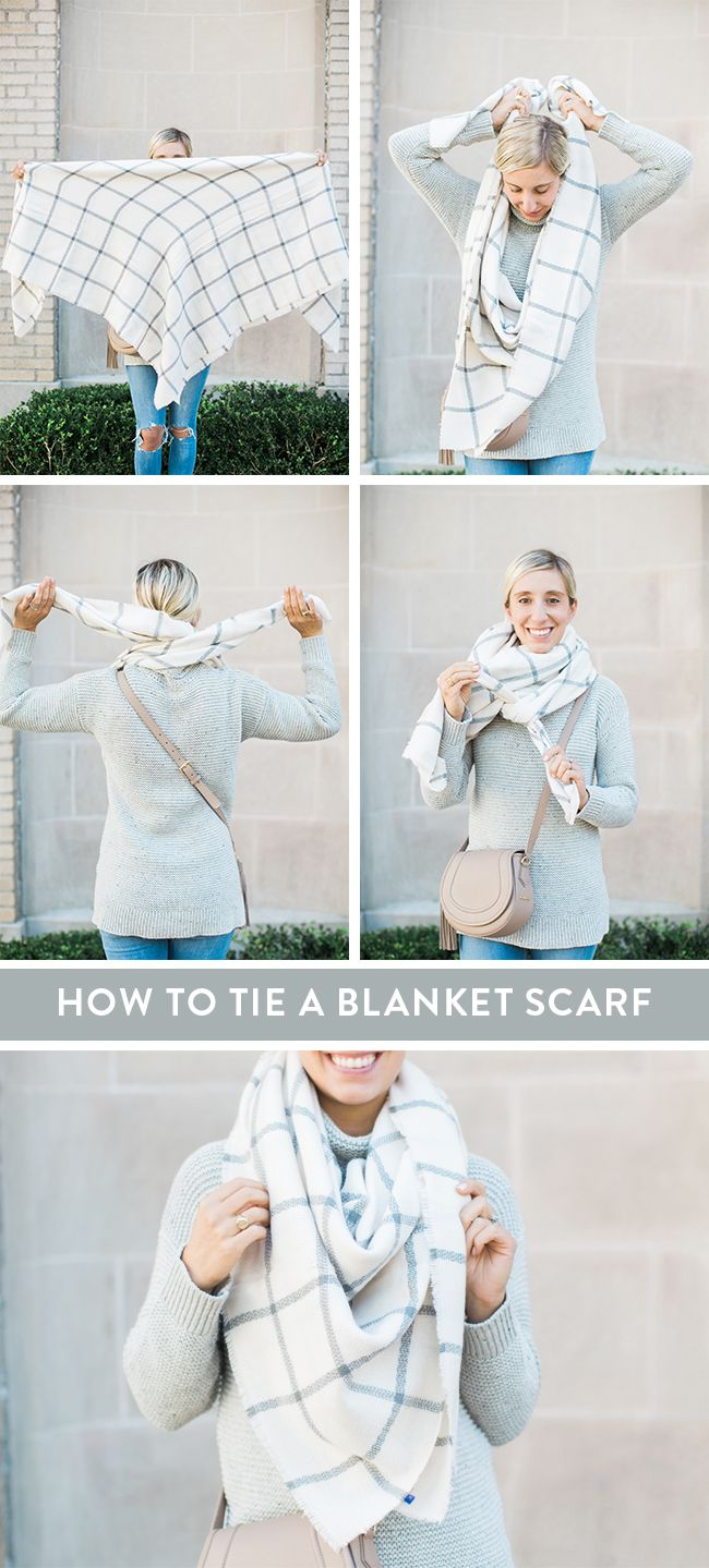 How to Tie a Blanket Scarf - Lemon Stripes