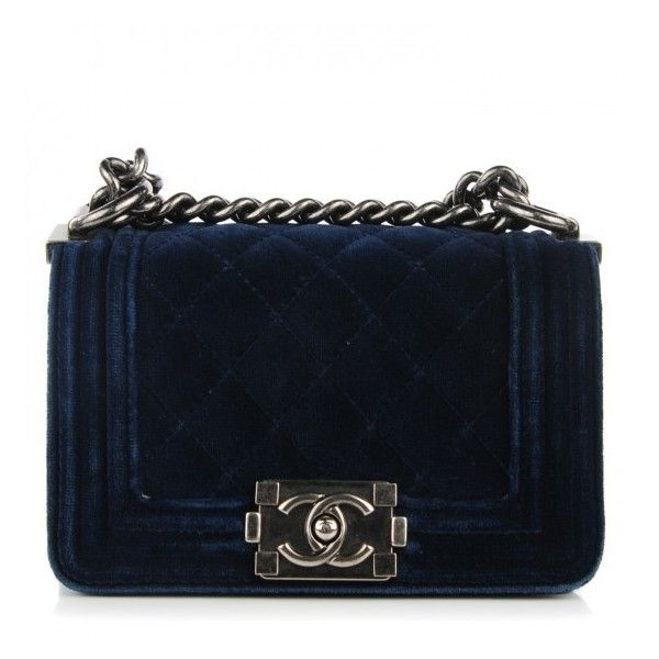 CHANEL Velvet Quilted Mini Boy Flap Navy ❤ liked on Polyvore featuring bags, handbags, shoulder bags, mini purse, blue handbags, navy blue purses, chanel shoulder bag and navy handbags