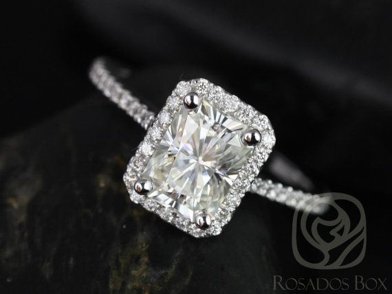 Brianna 8x6mm 14kt White Gold Radiant FB Moissanite and Diamonds Halo Engagement Ring (Other Center Stone Available Upon Request)