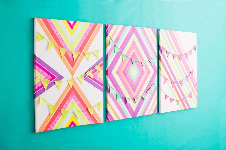 Create custom wall art with colorful washi tape.