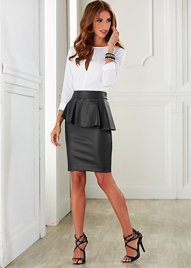 Slit front blouse, faux leather peplum skirt, heel...edgy, classy, and modern...perfect