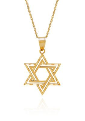 Belk  Co. Gold 14k Yellow Star of David Pendant Necklace
