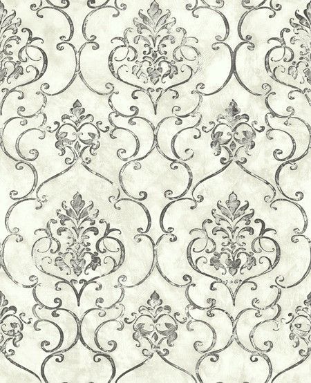 Small Damask 1 Wallpaper from the Lisbon Collection by Studio 465 | BURKE DECOR