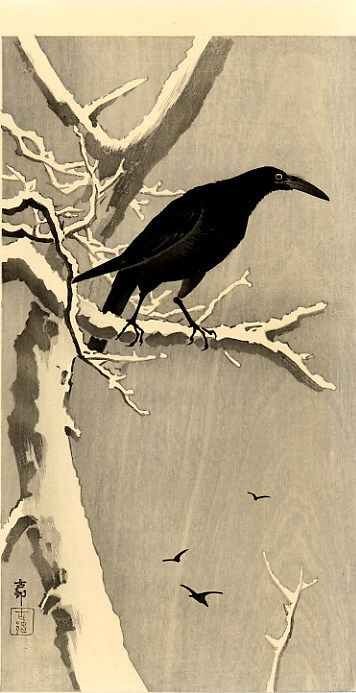 Crow on a Snowy Branch, Ohara Koson