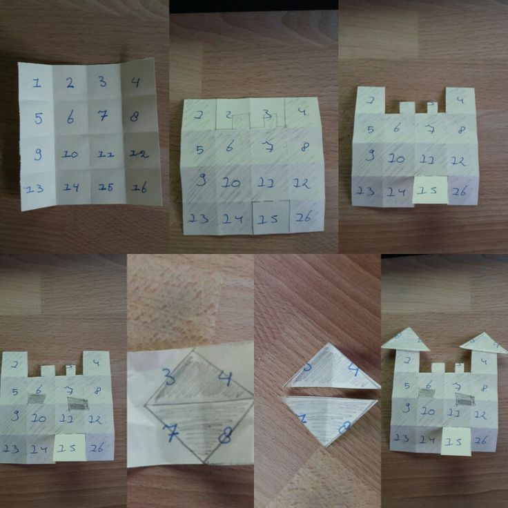 Folding a castle from 16 squares. Easy for kids