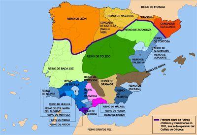 Mapa de los primeros Reinos de Taifas en el siglo XI.