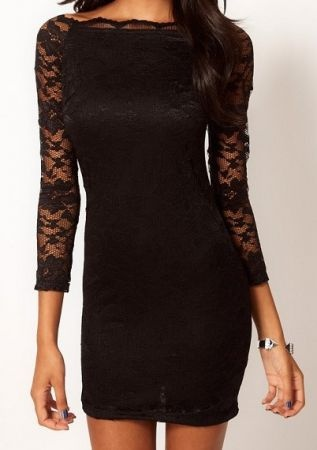 Lace sleeve black dress