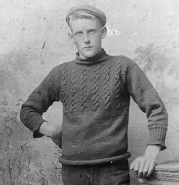 Guernsey fisherman's jumper. These jumpers were deliberately knitted tight fitting with short sleeves to minimise getting wet sleeves and waist when at sea