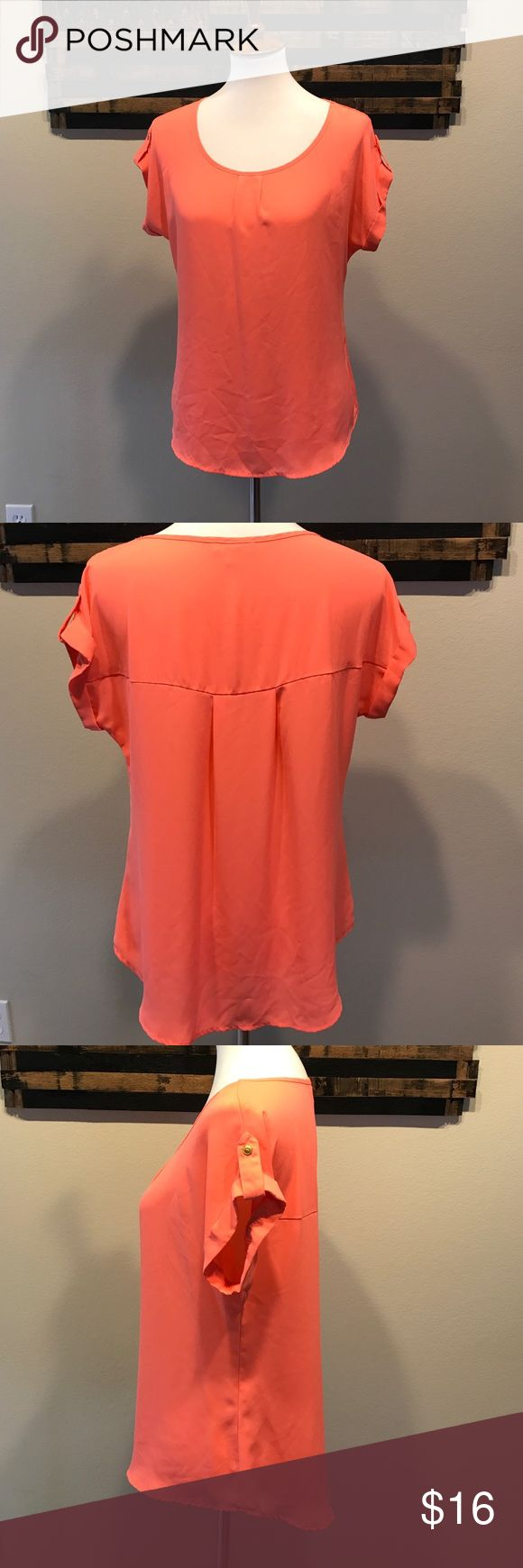 Coral blouse. Silky coral loose hanging blouse. Tops Blouses