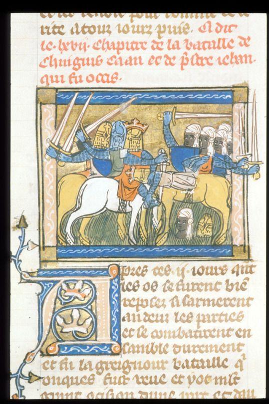Jeanne de Montbaston; Historia de Proeliis [Royal 19 D I]     f. 77v: The Battle of Genghis Khan and Prester John    France (1340)     Illuminated Manuscript, 425 x 310    British Library, London