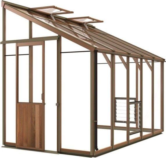 Anlehngewächshaus aus Zedernholz 324 cm