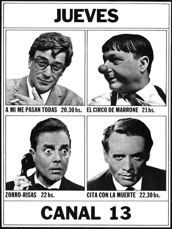 Publicidad de programación de CANAL 13, Buenos Aires, 1967.