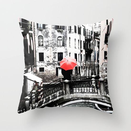 Throw Pillow - Red Umbrella in Venice #photo #venice #homedecor #society6