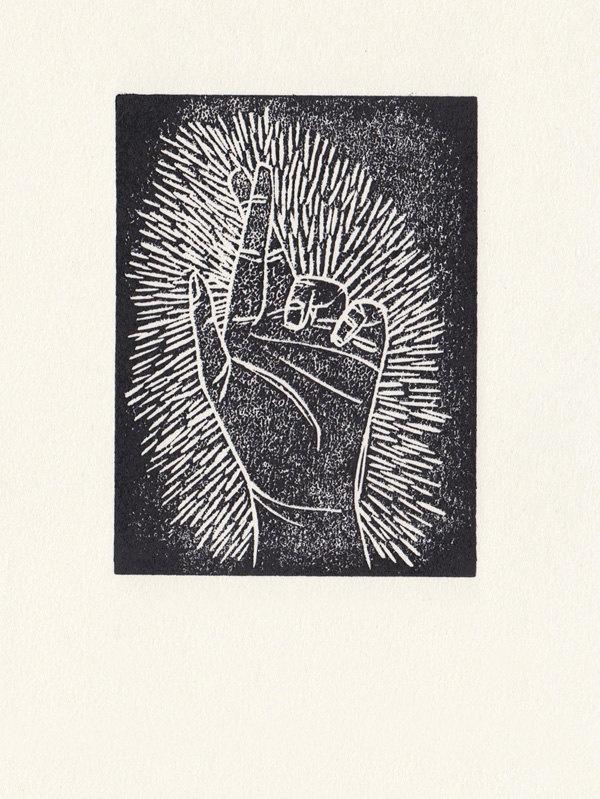 Fingers crossed lino print.