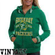 Mitchell & Ness Green Bay Packers Ladies Vintage Full Zip Hoodie Sweatshirt - Green