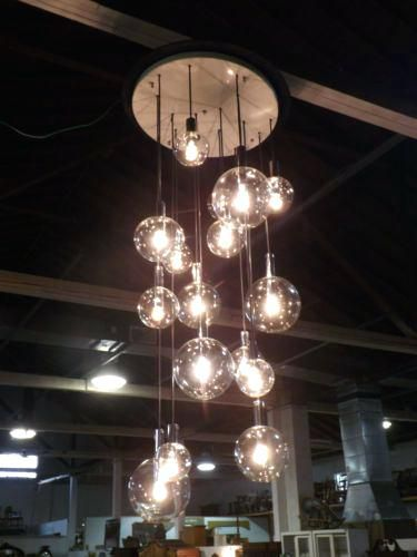 Modern Chandeliers For High Ceilings Mid Century Bubble Gl Chandelier 7 6 Long Light