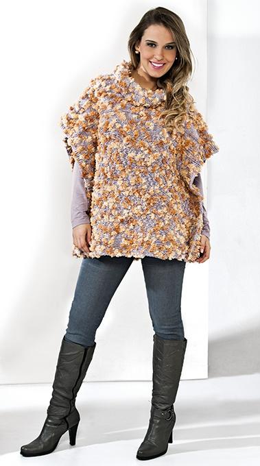Poncho lilás e bege Impression #trico #ModaInverno #moda #Cisne2013 #CoatsCorrente