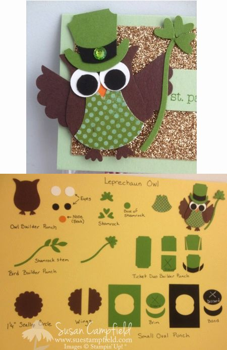 By Sue Campfield. St. Patrick's Day Owl using Stampin' Up Two Step Owl Punch.