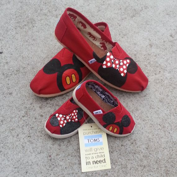 Mother and Toddler matching Toms - Two Pairs of Toms with Disney Art on Etsy, $144.00