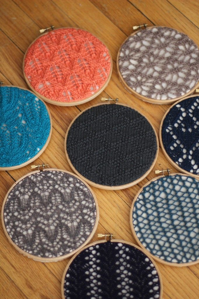 This knitted swatch wall art is just too cool.  This is a great project for using up scrap yarn and old swatches.