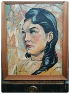 This is a very stunning Mid Century Painting dated June 1960 of Julia Pokiak an Inuvik student at John Franklin School, Akaitcho Hall, Yellowknife.  The painting itself is a thing of beauty and has most likely been inspired by Vladamir Tretchikoff's images. The student looks composed and at peace which is reflected in the painting's subtle palette of peaches and turqoises. The image is very still while the background has a fractal cubist movement to it. This would look so perfect in any MCM…