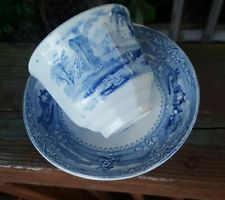 Antique Eon Wooliscroft Staffordshire Blue White Ironstone Cup & Saucer 19th Cen