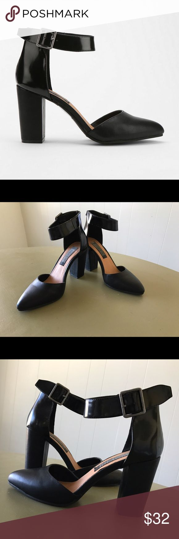 Urban Outfitters Deena & Ozzy Ankle Strap Heels Size 6 - black - vegan leather. Excellent condition! Never worn except for inside the house while I tried them on with several types of insoles (they were too big, and I was desperate to find a way to make them fit). Shoes Heels