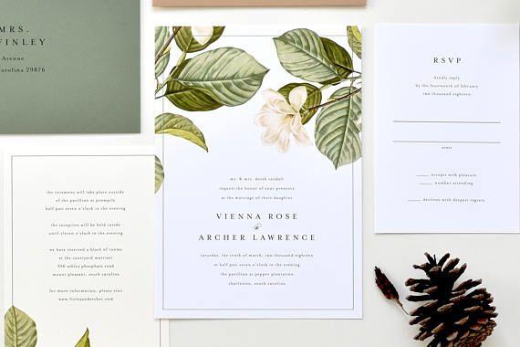 Magnolia Wedding Invitation Magnolia Leaves Wedding Etsy Magnolia Wedding Invitations Vintage Floral Wedding Invitations Wedding Invitations