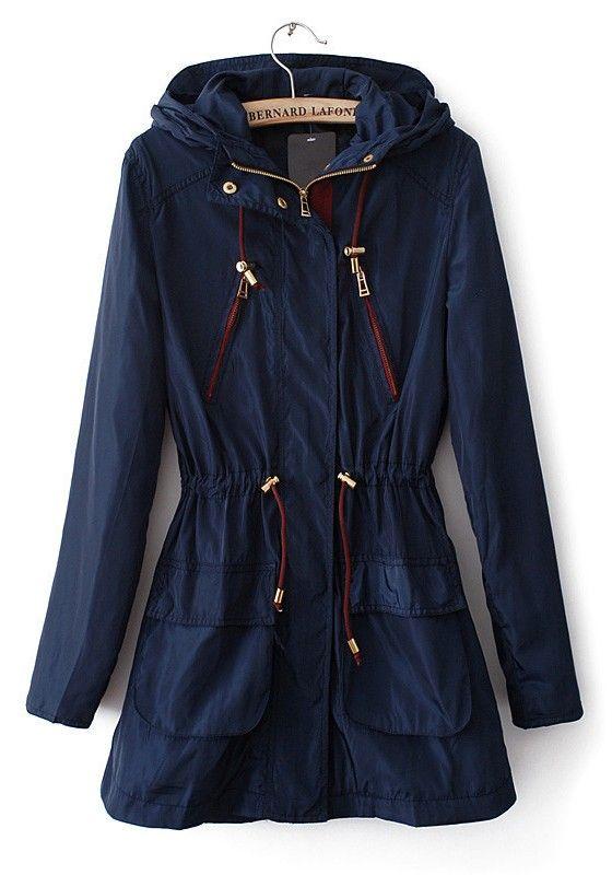 / Dark Blue Drawstring Pockets Cotton Blend Trench Coat