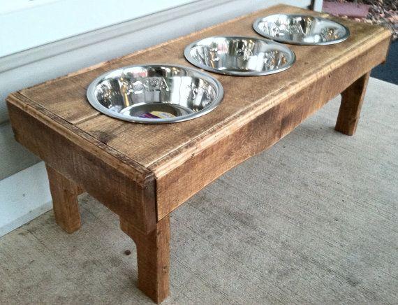 Reclaimed rustic pallet furniture dog bowl stand golden oak finish. 30l x 12 w x 11 t via Etsy