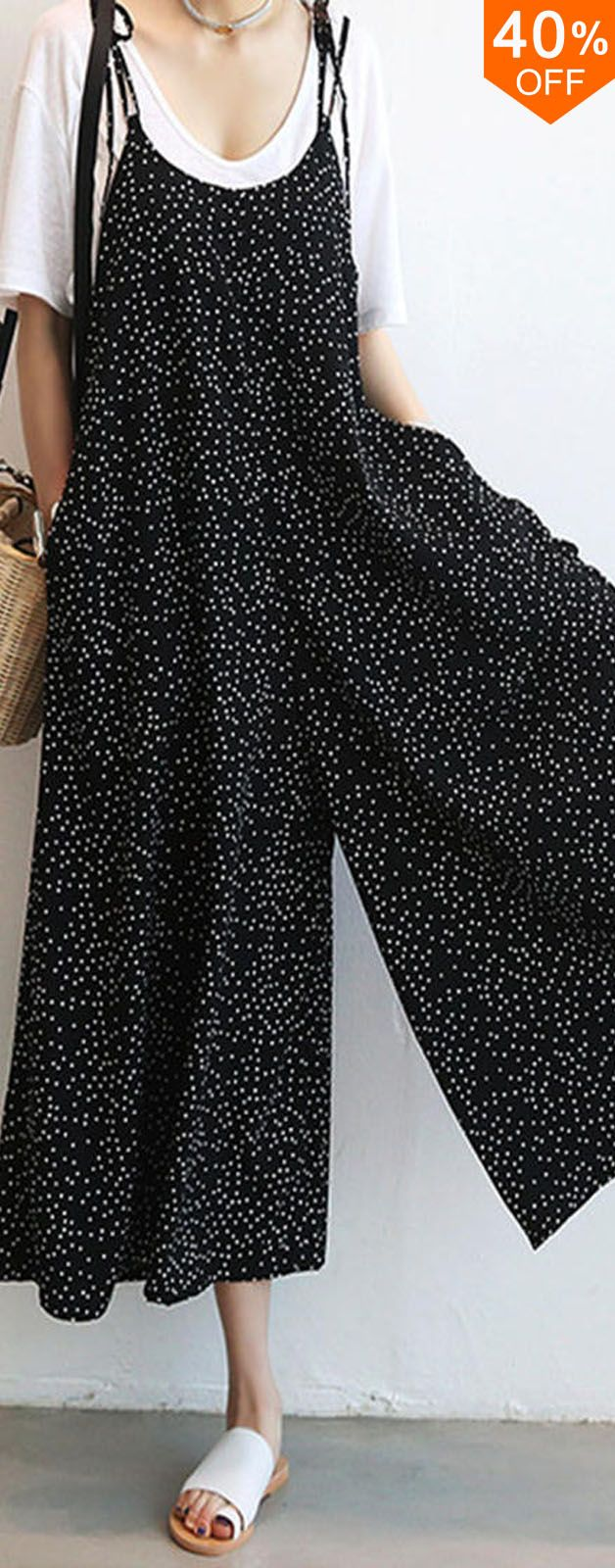 O-NEWE Women Loose Dot Spaghetti Strap Jumpsuits. #women #leggings #fashion