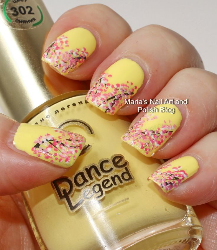 Marias Nail Art and Polish Blog: V-shaped French nail art with cherry blossoms
