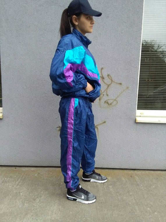 Vtg Shell Suit Windbreaker And Pants Old School Retro