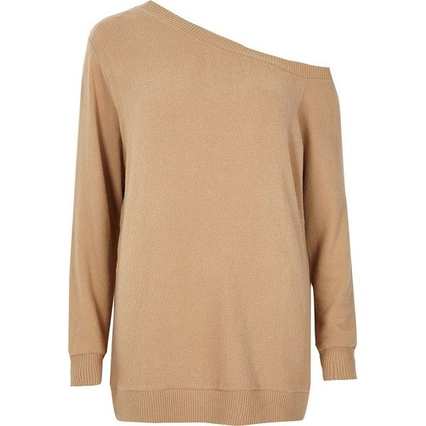 River Island Beige off shoulder sweater ($56) ❤ liked on Polyvore featuring tops, beige, hoodies / sweatshirts, women, off the shoulder knit sweater, off shoulder knit sweater, off shoulder long sleeve top, beige sweater and off the shoulder tops