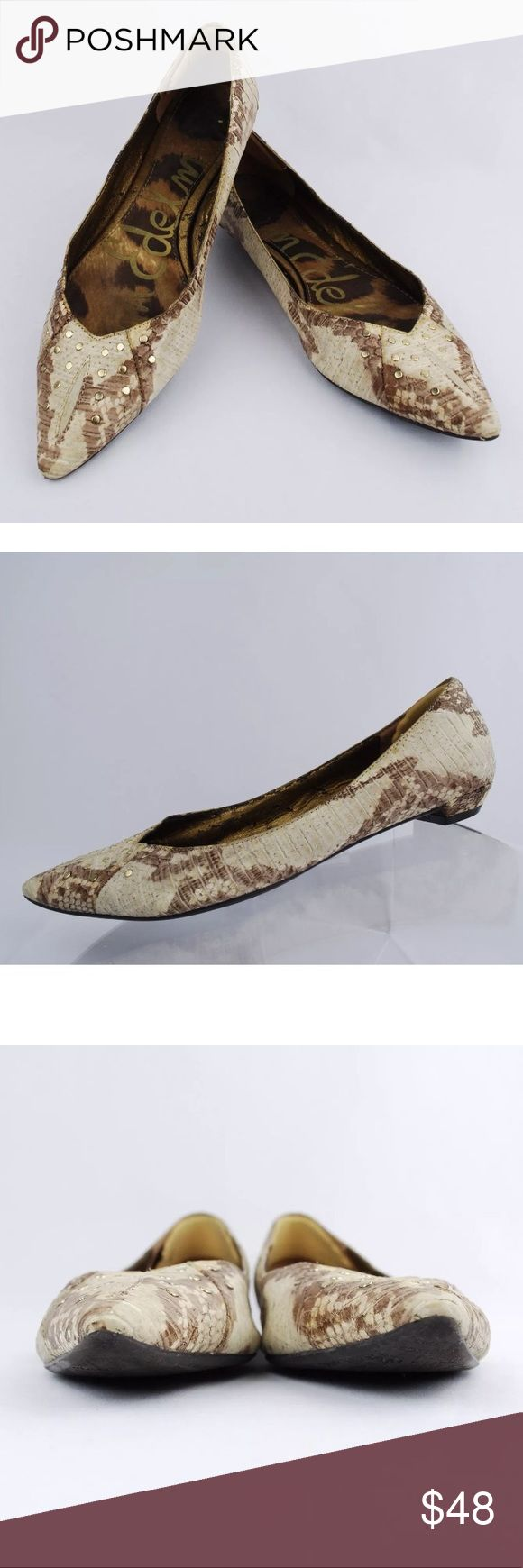 Sam Edelman Irina Pointed Toe Flats Snake-effect These are are so cool they look like real snakes 🐍      Sam Edelman Irina Women's Pointed Toe Flats Snake-effect Leather Size 6.5 M  Size: 6.5 M Color: Beige/ Brown Design: Pointed Toe Flats, snake-effect leather.  Condition: Pre-Owned/ Good Condition, Please Check the Photos. Sam Edelman Shoes Flats & Loafers