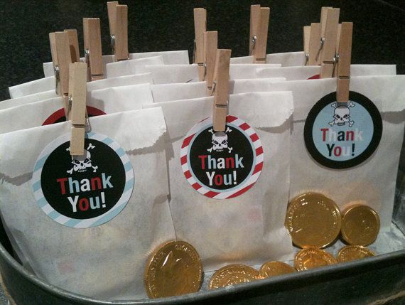 Pirate Party Favour Thank You Circles by claresweeney on Etsy, $5.50