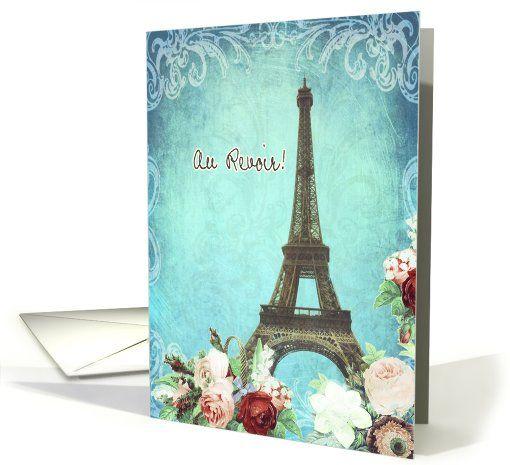 au revoir, good bye in French, Eiffel tower, roses, vintage look card