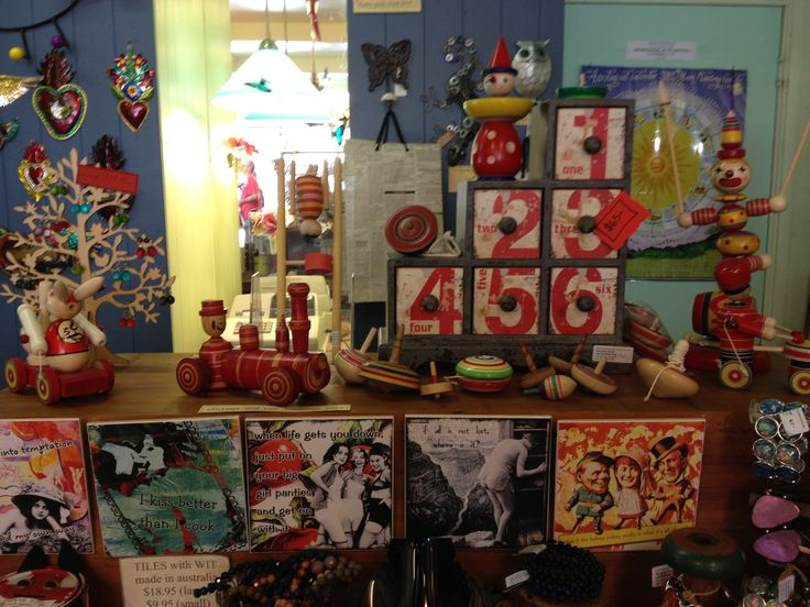 Vintage Japanese toys display.  So well made and beautifully decorated.