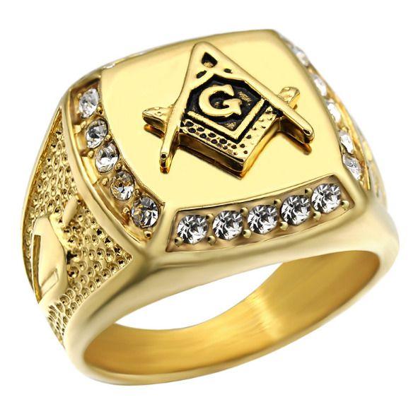 2017 Masonic Free Mason Signet Rings 316l Stainless Steel Gold