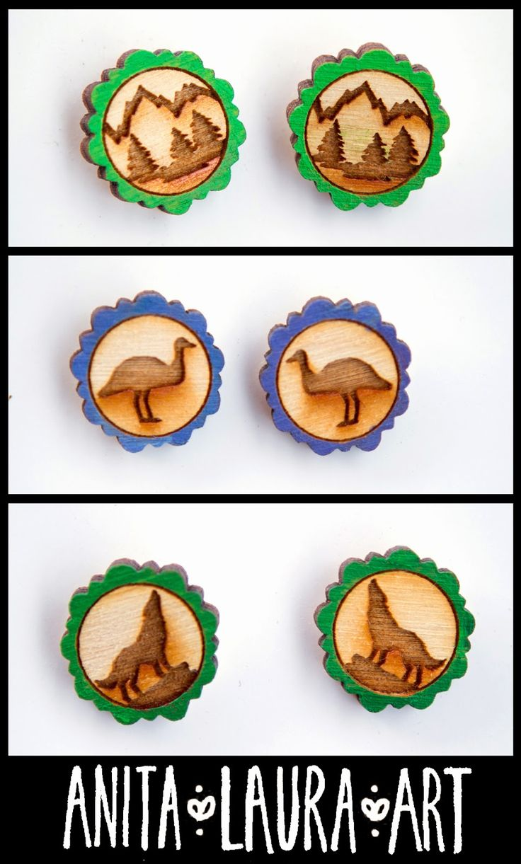Earrings - Pins - Hand drawn and painted - Laser cut wood - Anita Laura Art