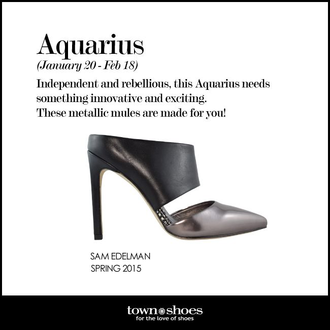 You're independent and rebellious, so you're definitely an #Aquarius! #horoscope #townshoes Find them here: http://ts.townshoes.ca/store/townShoes/en/Categories/Women%27s/Dress-Shoes/High-Heel-Dress-Shoes/Closed-Toe-Mule/p/114601309