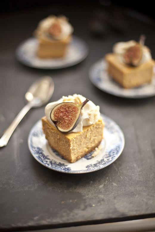 Pumpkin Cheesecake with Almond Crunch and Amaretto Cream