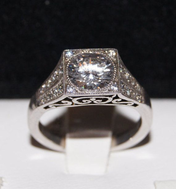 Antique Inspired 18k White Gold And Pave Set Diamond Filigree Semi Mount Engagement Ring Setting Only For 7 2 Mm Round Stone Pinterest
