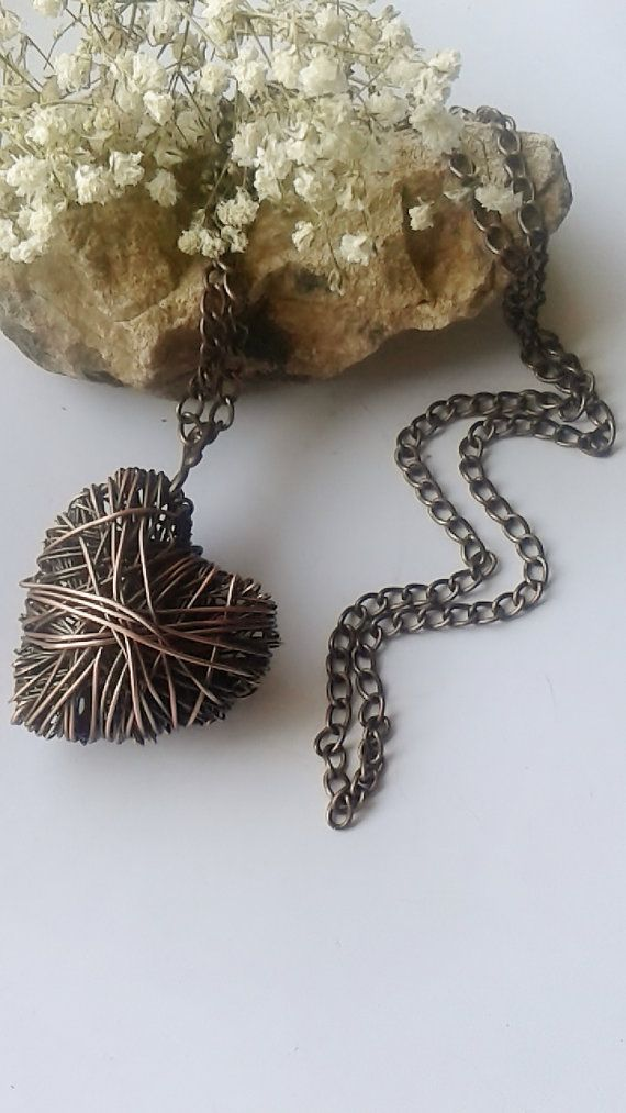 Copper heart pendantHandmade copper wire heart by Tangledworld