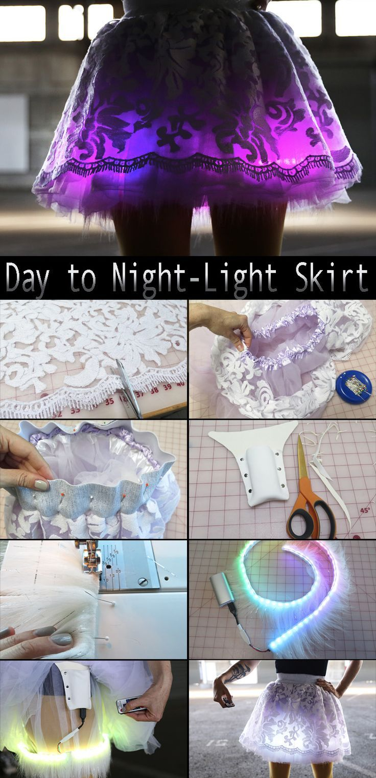 "DIY Cosplay LED SkirtThis detailed tutorial shows how to use LED Lights in DIY Fashion: "" ""By using a pre-programmed LED chip from Cool Neon that can be controlled by remote, I avoided the need for arduino coding, making this project quite a simple..."