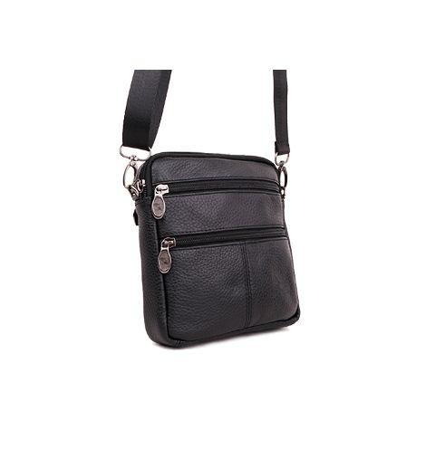 Pánská taška přes rameno - Chris, černá kůže